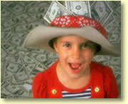 Graphic image of a young girl with a hat full of money